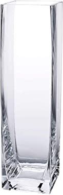 """Diamond Star Tall Square Vase Home Decorative Flower Glass Vase Wedding Party Table Centerpieces (3""""×3""""×12"""")"""