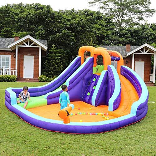 CHANG Château Gonflable pour Enfants, Parc Aquatique avec Toboggan et Mur d'escalade, Aire de Jeux Gonflable pour Jardin Extérieur
