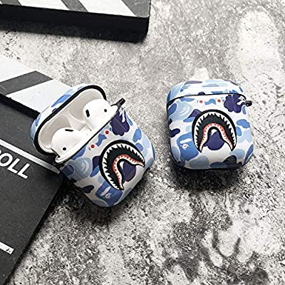 Shark Teeth Camo Softshell Silicone AirPods IMD Case for Apple AirPods 2 & 1, Wireless Charging Case Protective Cover and Skin Supreme Girls Boys Women Kids Teens Airpods (Blue)