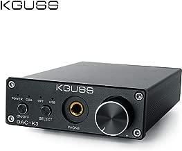 KGUSS DAC-K3 TPA6120 2.0 Mini HiFi Optical/Coaxial/USB DAC Decoder Audio Headphone Amplifier Headphone Preamp Desktop Amplifier 24BIT 192KHz OPA2134 AMP DC12V US Plug (Black)