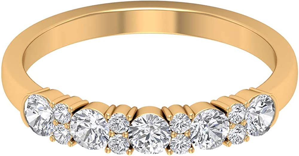 0.67 Ct Certified Moissanite Wedding Band Ring, Unique Bridesmaid Promise Ring, DE-VS1 Color Clarity Gemstone Gold Ring, Statement Women Eternity Ring, 14K Gold