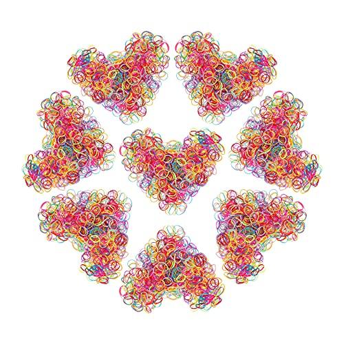 Hanyousheng Gomas de Pelo, Mini Gomas Pelo, Goma de Pelo Multicolor, 1000 Piezas Gomas Pelo Bebe, Gomas de Pelo Niña, Elástico Banda de Pelo, Gomas pelo Pequeñas para Niños y Niñas