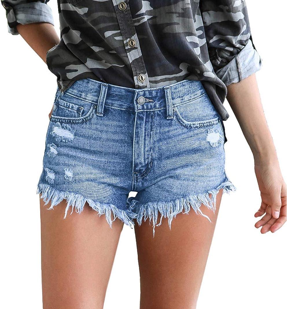Wielsscca Ripped Denim Shorts for Women Mid Rise Shorts Frayed Raw Hem Ripped Denim Jean Short