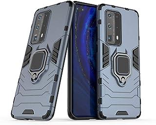 متوافق مع Huawei P40 Pro+، حامل معدني ذو قبضة دائرية مضاد للصدمات (يعمل مع حامل السيارة المغناطيسي) غطاء متين بطبقة مزدوجة...