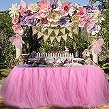 Aytai Tutu Falda de Mesa Tul Hecho a Mano Mantel para el Banquete de Boda Baby Shower cumpleaños niña Princesa Party Supplies Decoraciones 39.4 'x31.5 (Pink)