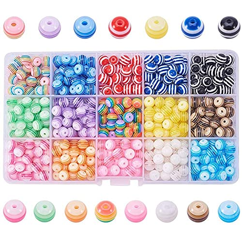 MMYAN 450 cuentas redondas de resina acrílica de 6 mm de colores, cuentas redondas de acrílico, 15 piedras de colores mezclados para hacer joyas y manualidades
