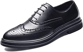 QinMei Zhou Brogue Carving Oxfords for Men Retro Dress Shoes Lace up Microfiber Leather Pointed Toe Wingtip Double Thick-Bottom Waxed Laces (Color : Black, Size : 6.5 UK)