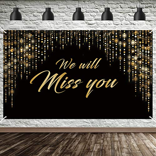 Luxiocio We Will Miss You Banner Decorations, Extra Large Going Away Party Backdrop Supplies, Black Gold Farewell Party Retirement Graduation Office Work Party Poster Photo Booth(6 x 3.6ft)
