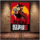 Bxygml Red Dead Redemption 2 Juego Lienzo póster Pared Arte impresión Pintura Papel Tapiz Decorativo Cuadro de pared-60x80 cm sin Marco