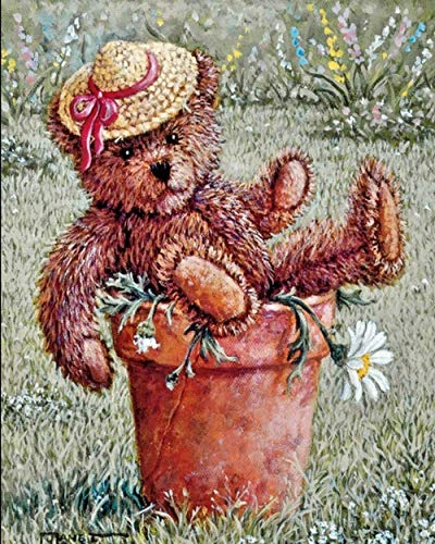 YUNLINZI Diy Oil Painting By Numbers Kits, Canvas Oil Painting -Garden Toy Bears For Adults And Drawing Beginner With Brushes Hand Painted Gifts Without Frame
