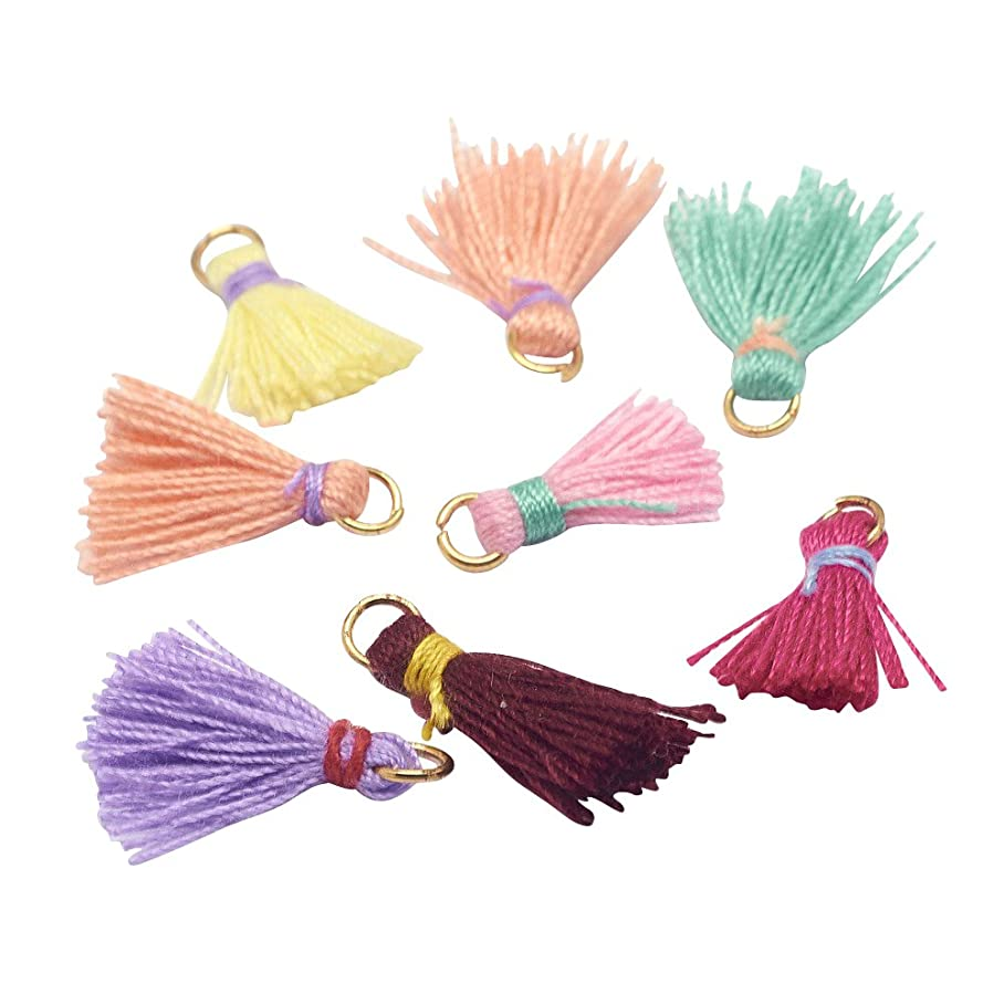 Nbeads 100pcs Mixed Color Cotton Tassel Pendant Decorations with Brass Finding for Jewelry Making e704781332