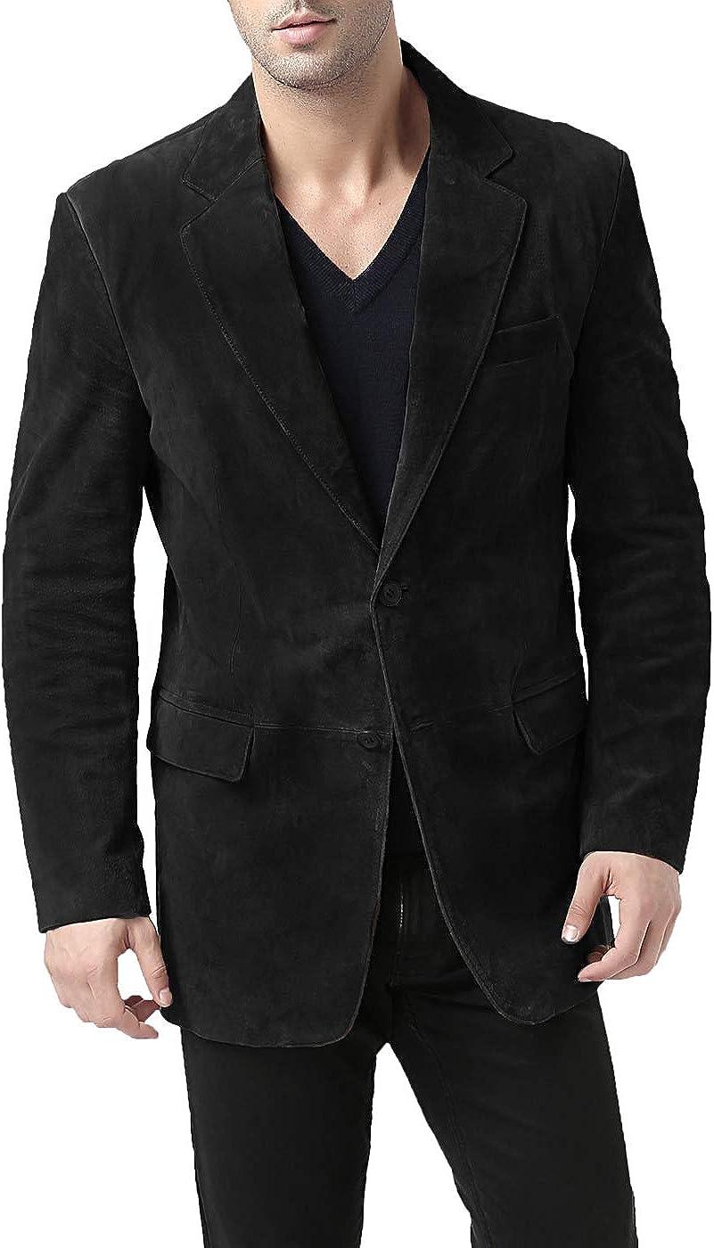 BGSD Men's Cliff 2-Button Suede Leather Blazer Black XX-Large Tall