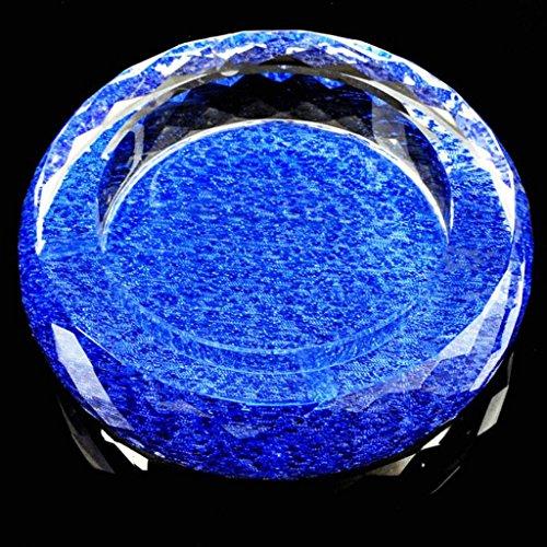 cendrier Xuan - worth having Blue Cloth Pattern Round Bright Couleur Style Cristal Verre Personnalité Mode Décoration de salon (taille : 25*25*4.5cm)
