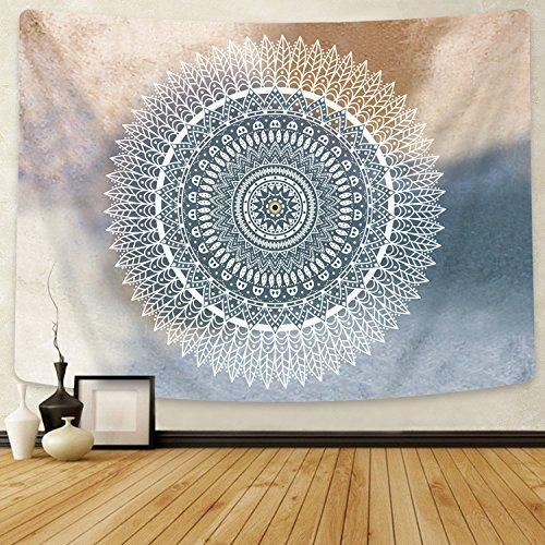 Bateruni Mandala Graue Blume Wandteppich Böhmische Tapisserie Psychedelische Wandbehang Wandkunst Dekoration, Schlafzimmer Wohnzimmer, 150x130 cm