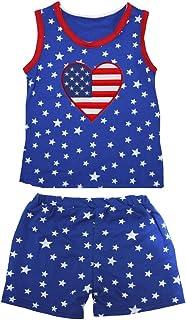 Petitebella Girls' America Heart Patriotic Stars Red Cotton Shirt Short Set