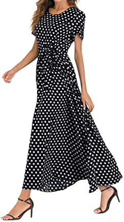 IMbeauty t Shirt Dress Womens UK Womens Vintage Dot Print Short Sleeve Bodycon O-Neck Evening Party Dresses