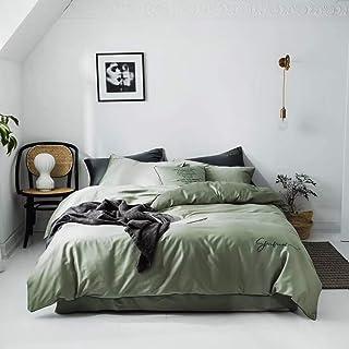 Funda nórdica, juego de 4 colchas bordadas con edredón bordado en color liso de algodón de color liso largo 60S Juego de 4 piezas de cama simples con bordados y fundas de almohada,Green,King