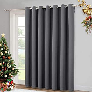 Best NICETOWN Patio Sliding Door Curtain - Wide Blackout Curtains, Keep Warm Draperies, Grey Sliding Glass Door Drapes (Gray, 100 inches W x 84 inches L) Reviews