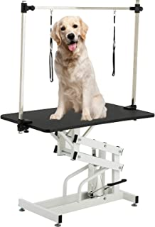 SUNCOO 43 Inch Hydraulic Pet Dog Grooming Table Upgraded Professional Drying Table Heavy Duty Stainless Steel Frame with Adjustable Arm and Noose 400lbs Capacity Height Range 22-39 Inch