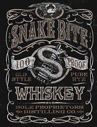 JP London pmur2441ustrip schälen und Stick Abnehmbare Wandtattoo Aufkleber Mural, Schlange Beißen Vintage Whiskey Label Poster, 4x 0,9m
