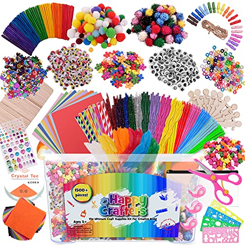Arts and Crafts Supplies Kit for Kids- 1500+ Piece Box of Crafting Supplies for Age 4 5 6 7 8 9 10 11 & 12- Ultimate Art & Craft Set to Complete Your Craft Library for Toddlers and Preschoolers