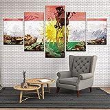 HHLSS Drucke auf Leinwand, 5 Stück Kurdistan Soldat Flagge Poster Moderne Wohnkultur Gemälde Modulares Bild Wandkunst