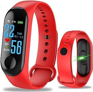 Cheyenne Pulsera Fitness Tracker Reloj Pulsómetro, M3GPS Impermeable IP67presión sanguínea para Mujer Hombre Color Pantalla táctil, Rojo