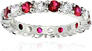 Sterling Silver Created Ruby and Cubic Zirconia Wedding Band Ring
