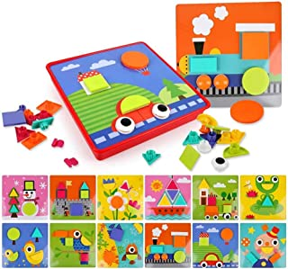 HOWADE Educational Button Art Puzzle Toys,Learning Color and Geometry Shape Matching Puzzle Peg Board Games for Boys and G...