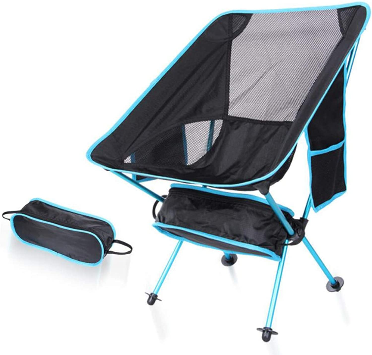 Camping Chair Outside Folding Portable Super Light Moon Chair Aviation Aluminum Fishing Mountaineering Camping Beach Chair + Side Pocket Design