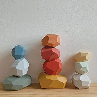 MODERNGENIC Wooden Balancing Stacking Stones, Wood Rocks, Building Blocks Set, Sorting and Stacking Games, Lightweight Nat...