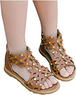 Cocity Kids Girls Summer Roman Sandals Open Toe Braided Gladiator Casual Fashion Lovely Princess Sandal Shoes for 3-11.5T Toddler/Little Kid/Big Kids