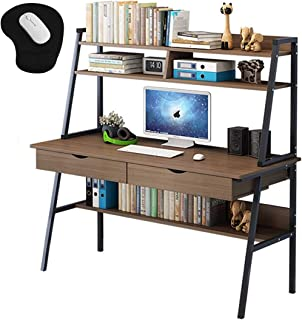 Computer Table Home Office Workstation Computer Desk Laptop Table with Bookshelf Storage Shelf and Drawer Large Desktop 10...