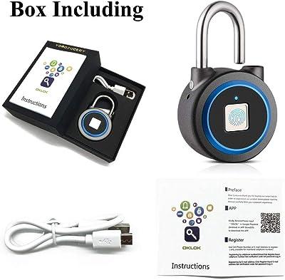 YOROZUCERY Fingerprint Padlock Metal Bluetooth Combination Lock USB Rechargeable Waterproof Smart Anti-Theft Keyless Lock for Gym, Door, Backpack, Luggage Suitcase, Bike, Office (Blue)