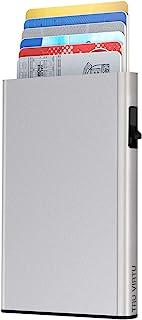 TRU VIRTU® Tarjetero Click & Slide Silver Arrow Plata I Estuche para Tarjetas de crédito I Tarjetero con protección RFID-N...