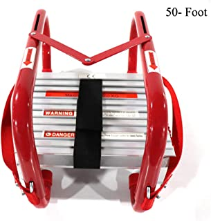 Portable Fire Ladder5 & 6 Story Emergency Escape Ladder 50 Foot with Wide Steps V Center Support