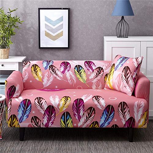 Funda de sofá Antideslizante de Poliéster Spandex Pluma Rosa Estampado,Funda elástica Antideslizante Protector Cubierta de Muebles para sofá de 4 plazas(1 Funda de Cojines)