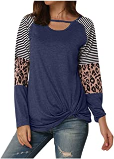 Bloomn Women's Color Block Chest Cutout Tunics Long Sleeve Shirts Scoop Neck Blouse Casual Loose Tops