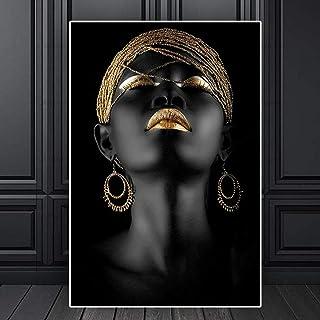 YBGW Tableaux Peintures sur Toile Abstrait Or Noir Femme Toile Peinture Affiches Et Impression Peinture À l'huile sur Toil...