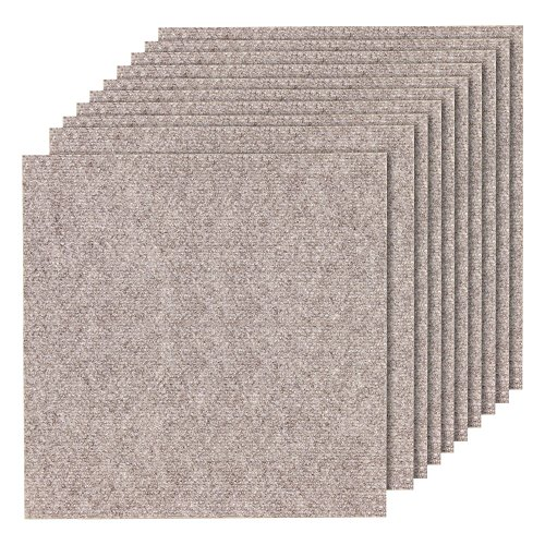 山五 滑り止め 吸着加工 洗えるカーペット 薄手 大判タイプ ベージュ色 10枚入り 50×50cm