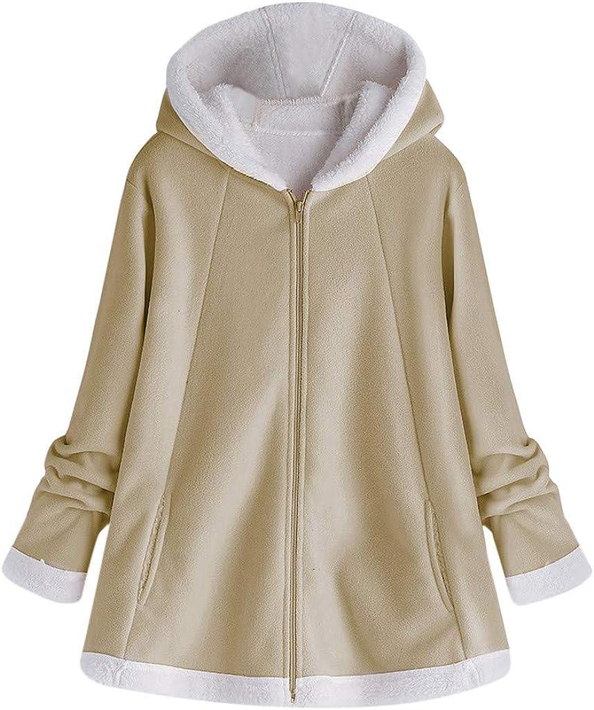 iHENGH Damen Herbst Winter Bequem Mantel Lässig Mode Jacke Frauenmode Winter Tasche Reißverschluss Langarm Plüsch Hoodie Mantel Khaki