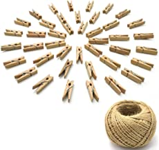 Yushulin 50PCS Wood Craft Clothespins Natural Wooden Mini Clothes Pins Photo Clips Paper Peg 100 Meters Jute Twine