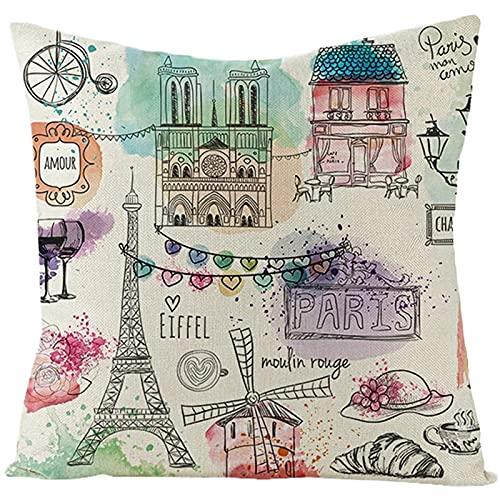 Agoble Federa Cuscino Multicolori Paris Notre Dame De Paris e La Torre Eiffel, Biancheria Federa Materasso 50x50cm/20x20 Inches