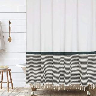 Modern Farmhouse Tassel Shower Curtain 100% Cotton Striped Fabric Shower Curtain with Tassels for Bathroom Decor, 72x72- B...