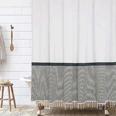 Modern Farmhouse Tassel Shower Curtain 100% Cotton Striped Fabric Shower Curtain with Tassels for Bathroom Decor, 72x72- Blac