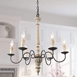 LALUZ French Country Chandelier, Handmade Wood Chandelier for Dining Room, Bedroom, Living Room, Rust Finish with Metal Arms