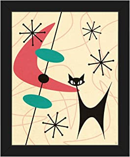Retro Black Space Cat Boomerang Pink Mid-Century Postmodern Abstract Painting Illustration Wall Art Print on Canvas with Black Frame