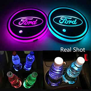 LED Car Cup Holder Lights for Ford 7 Colors Changing USB Charging Mat Luminescent Cup Pad LED Interior Atmosphere Lamp 2Pcs