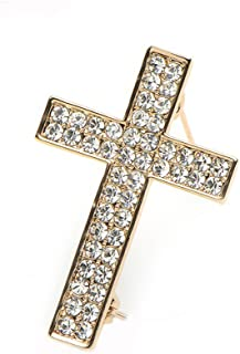 Delicate Gold Silver Crystal Rhinestone Cross Crucifix Brooch Pin
