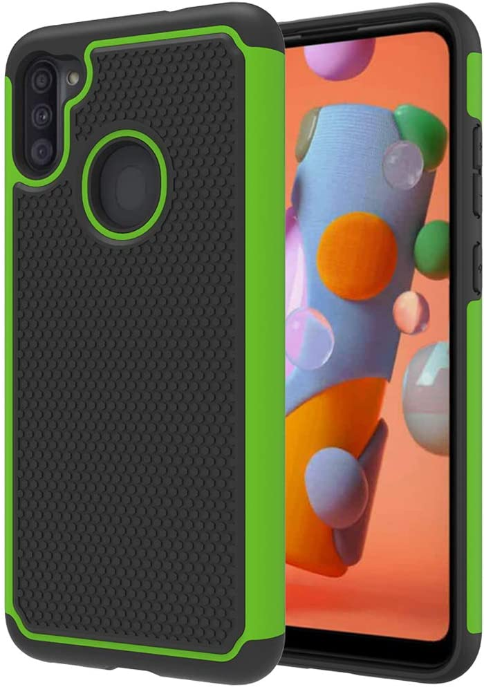 Dahkoiz Case Compatible for Samsung Galaxy A11 Case with Tempered Glass Screen Protector [2 Pack], Sturdy Durable Armor Defender Cover Dual Layer Hybrid Protective Phone Cases for Galaxy A11, Green